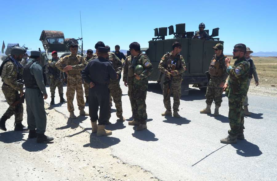 GHAZNI, May 28, 2019 (Xinhua) -- Afghan security force members take part in a military operation in Ghazni province, eastern Afghanistan, May 27, 2019. More than 70 people including Taliban fighters and security personnel have been killed in Afghanistan over the past 24 hours, while some Afghan politicians and a Taliban delegation met in Moscow to mark the 100th anniversary of Afghanistan-Russia diplomatic relations, on Tuesday. (Xinhua/Rohullah/IANS) by .