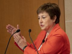 WASHINGTON D.C., Jan. 18, 2020 (Xinhua) -- International Monetary Fund (IMF) Managing Director Kristalina Georgieva speaks at an event hosted by Peterson Institute for International Economics in Washington D.C., the United States, on Jan. 17, 2020. The newly signed China-U.S. phase-one trade deal will reduce uncertainty that has impeded global economic growth, IMF Managing Director Kristalina Georgieva said on Friday. (Xinhua/Liu Jie/IANS) by .