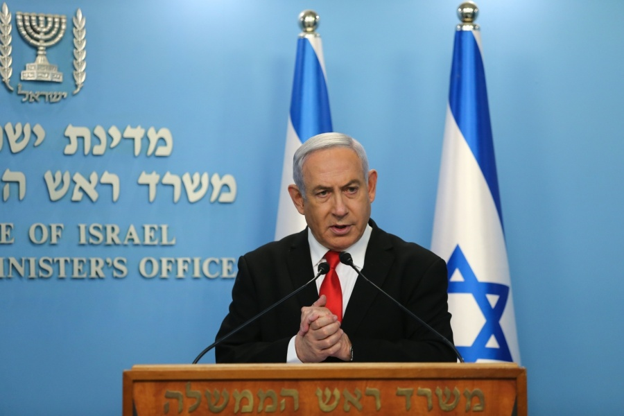 JERUSALEM, March 15, 2020 (Xinhua) -- Israeli Prime Minister Benjamin Netanyahu gives a speech regarding the new measures that will be taken to fight the coronavirus in Jerusalem on March 14, 2020. Benjamin Netanyahu announced on Saturday the closure of all shopping centers, restaurants, cafes, theaters and cinemas as part of the efforts to stop the spread of the novel coronavirus. So far, 193 coronavirus cases have been reported in Israel, of whom four have recovered. (Alex Kolomoisky/JINI /Handout via Xinhua/IANS) by .