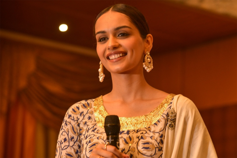 Ajmer: Miss World 2017 Manushi Chhillar addresses during an awareness programme on menstrual hygiene, in Ajmer on May 27, 2018. (Photo: Shaukat Ahmed/IANS) by .