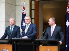 CANBERRA, Jan. 6, 2020 (Xinhua) -- Australian Prime Minister Scott Morrison (C), Deputy Prime Minister Michael McCormack (L) and Treasurer Josh Frydenberg (R) attend a press conference at the Parliament House in Canberra, Australia, Jan. 6, 2020. The Australian government launched the National Bushfire Recovery Agency which would be funded with an initial two billion Australian dollars (1.38 billion U.S. dollars) on Monday. (Xinhua/Bai Xu/IANS) by .