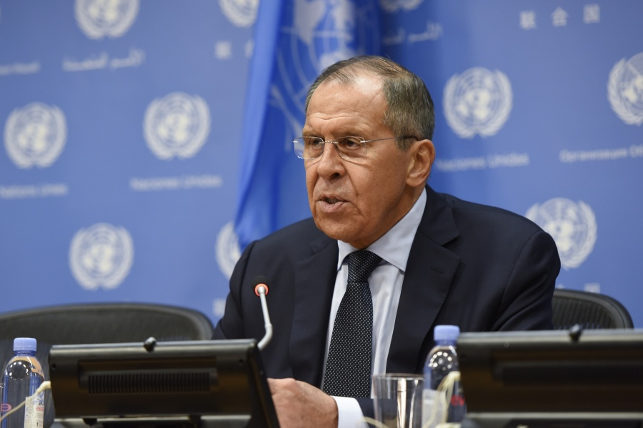 UNITED NATIONS, Sept. 28, 2019 (Xinhua) -- Russian Foreign Minister Sergey Lavrov speaks during a press conference on the sidelines of the 74th session of the United Nations General Assembly at the UN headquarters in New York, Sept. 27, 2019. (Xinhua/Han Fang/IANS) by .