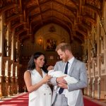 WINDSOR, May 8, 2019 (Xinhua) -- Britain's Prince Harry, Duke of Sussex (R), and his wife Meghan Markle, Duchess of Sussex, pose for a photo with their son in St George's Hall at Windsor Castle in Windsor, Britain, on May 8, 2019. The baby boy, who is Queen Elizabeth's eighth great-grandchild, is seventh in line to the throne, behind the Prince of Wales, the Duke of Cambridge and his children - Prince George, Princess Charlotte and Prince Louis - and Prince Harry. (Xinhua/Dominic Lipinski/PA Wire/IANS) by .