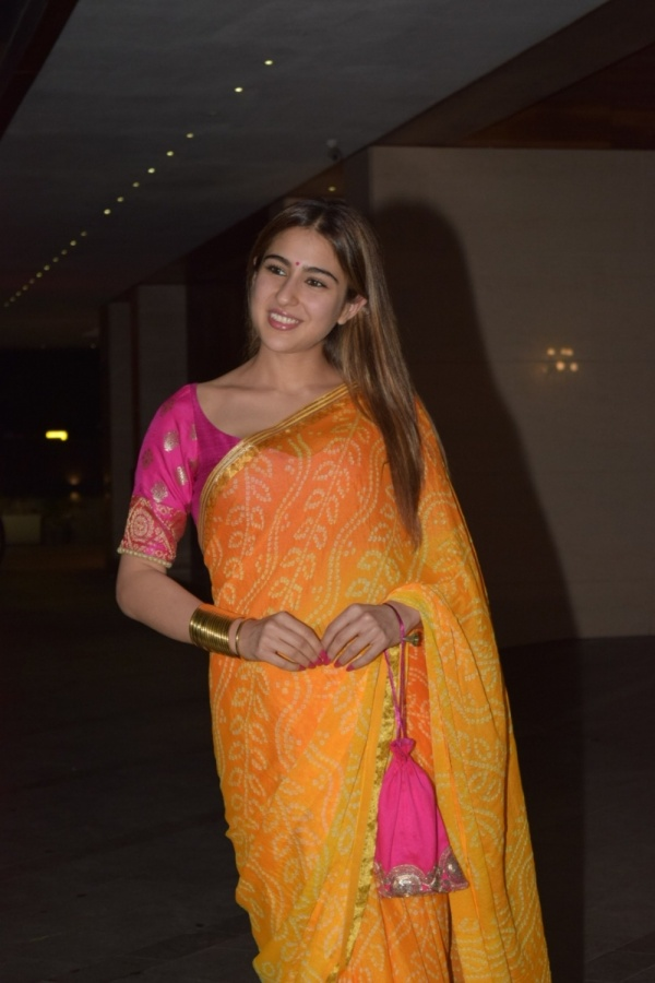 Mumbai: Actress Sara Ali Khan at the Diwali bash of actor Jackky Bhagnani in Mumbai on Oct 25, 2019. (Photo: IANS) by .