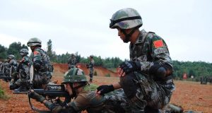 New Delhi: Indian and Chinese soldiers during a joint military exercise organised at Kunming Military Academy in China. (Photo: IANS/DPRO) by .