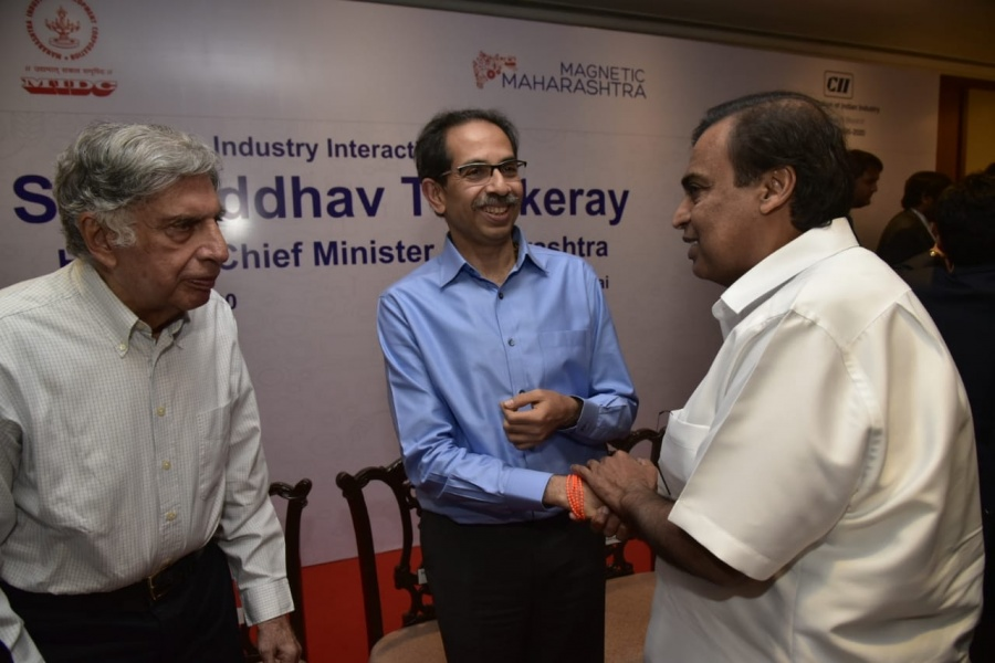 Mumbai: Maharashtra Chief Minister Uddhav Thackeray, industrialists Mukesh Ambani and Ratan Tata during an interaction session to discuss the vision for developing industries in Maharashtra, in Mumbai on Jan 7, 2020. (Photo: IANS) by .