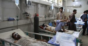 JALALABAD (AFGHANISTAN), June 20, 2019 (Xinhua) -- Injured people receive medical treatment at a local hospital in Jalalabad city, the capital of eastern Nangarhar province, Afghanistan, on June 20, 2019. At least one person was confirmed dead and 20 others sustained injuries in a blast that rocked Jalalabad city on Thursday, provincial government spokesman Attaullah Khogyani said. (Xinhua/IANS) by .