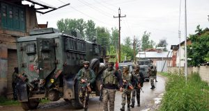 Pulwama: Security forces conduct cordon and search operations after two militants were killed in a gunfight with the security forces in Jammu and Kashmir's Pulwama district, on May 18, 2019. One of the slain militants has been identified as Showkat Ahmad Dar, a resident of Panzgam village. He belonged to the Hizbul Mujahideen (HM) outfit. (Photo: IANS) by .
