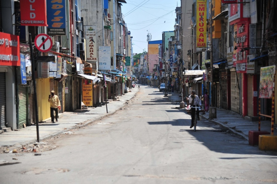 Bengaluru: Busy Chikkapete shopping area wears a deserted look during the nationwide lockdown in the wake of novel coronavirus (COVID 19) pandemic, in Bengaluru on April 14, 2020. (Photo: IANS) by .