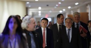 UNITED NATIONS, June 10, 2019 (Xinhua) -- Jack Ma (C) of China's Alibaba Group and United Nations Secretary-General Antonio Guterres (1st R, front) arrive to attend a high-level panel on digital cooperation at the UN Headquarters in New York, June 10, 2019. Jack Ma of China's Alibaba Group joined United Nations Secretary-General Antonio Guterres and Melinda Gates of the Gates Foundation in a live conversation here on Monday to discuss global digital cooperation for a safer and more sustainable future of the digital industry. (Xinhua/Li Muzi/IANS) by .