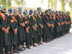 KANDAHAR, July 13, 2019 (Xinhua) -- Arrestees stand handcuffed in Kandahar province, Afghanistan, July 13, 2019. The Afghan government security forces have arrested 40 militants affiliated to Taliban militant group in southern Kandahar province, a provincial governor said Saturday. (Xinhua/Arghand/IANS) by .