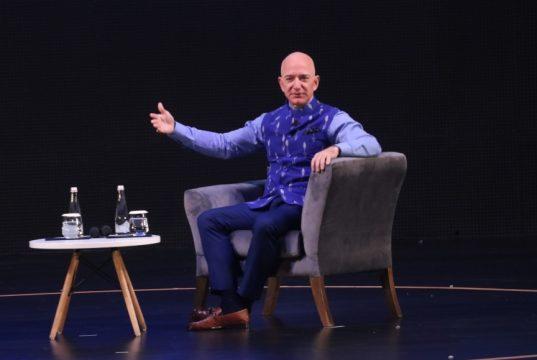 New Delhi: Amazon CEO Jeff Bezos interacts with entrepreneurs at the Amazon Smbhav event in New Delhi on Jan 15, 2020. (Photo: IANS) by .