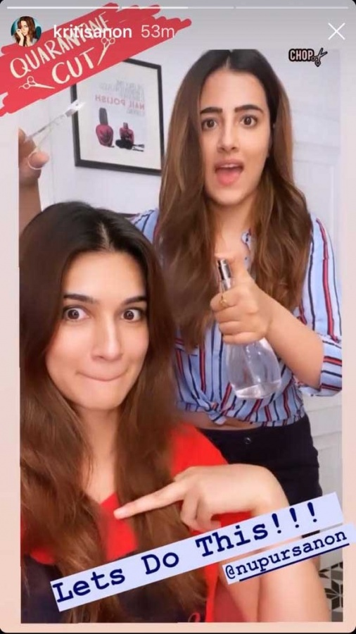 Kriti Sanon gets 'quarantine' haircut from sister Nupur. by .