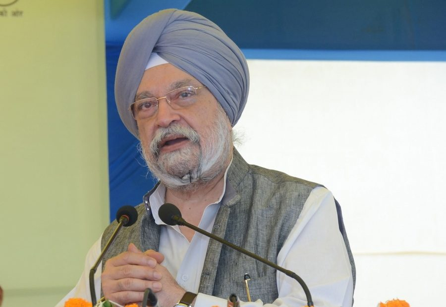 New Delhi: Union MoS Housing and Urban Affairs, Civil Aviation (Independent Charge) and Commerce and Industry Hardeep Singh Puri addresses at the foundation stone laying ceremony of various development projects of Delhi Development Authority, at Dwarka in New Delhi on Oct 7, 2019. (Photo: IANS/PIB) by .