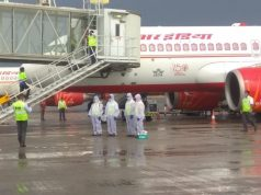 A special relief flight of Air India airlifted 99 US citizens stuck, in Hyderabad on Apr 7, 2020. The flight, which took off from Rajiv Gandhi International Airport (RGIA), carried the US citizens to Mumbai, from where they will be further connected with Delta Airlines from Mumbai to their final destination in the US. In coordination with the US Consulate and the Telangana State government, a group of 98 adults and one infant US-bound passengers arrived at the airport from various parts of Hyderabad. All these passengers were serviced through the fully-sanitized main passenger terminal building, which has been kept ready for evacuation operations. Special screening and safety measures were in place during the flight's handling to protect against the COVID-19 threat including thermal screening prior to terminal entry, mandatory social distancing enforced through special queuing arrangements at all passenger processing points.The airport, shut for regular commercial operations from March 22, has so far handled three evacuation flights. (Photo: IANS) by .