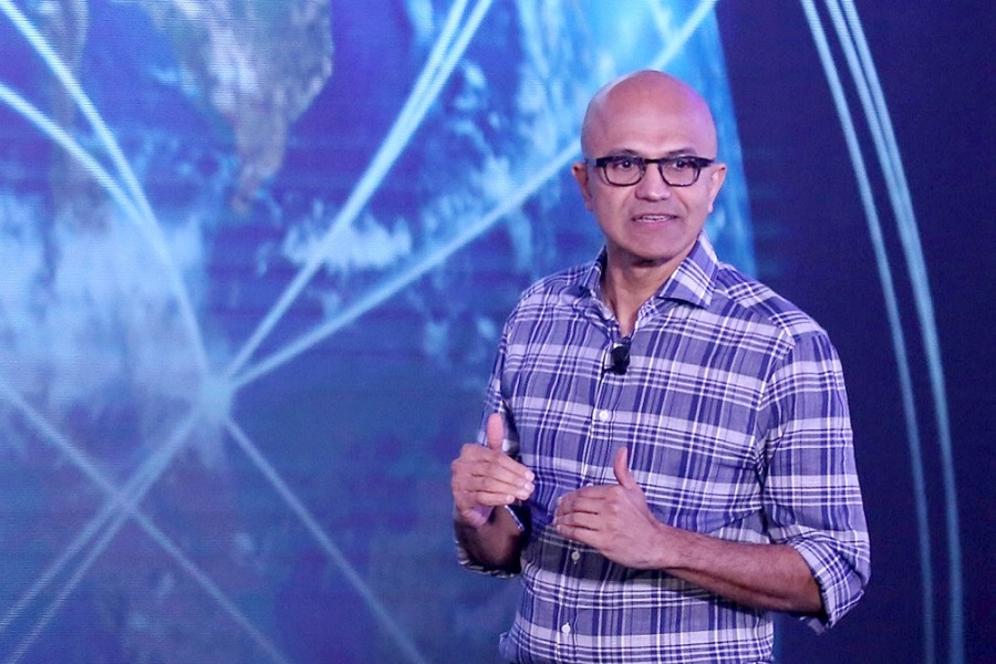"Bengaluru: Microsoft CEO Satya Nadella addresses during the Microsoft ""Future Decoded"" tech summit in Bengaluru on Feb 25, 2020. (Photo: IANS) by ."