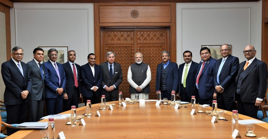 New Delhi: Prime Minister Narendra Modi meets top business leaders including Tata Sons Chairman N. Chandrasekaran, Reliance Industries Chairman Mukesh Ambani, Tat Sons Chairman Emeritus Ratan Tata, Mahindra Group Chairman Anand Mahindra, Adani Group Chairman and Founder Gautam Adani, to discuss ways to improve growth and job creation in the country, in New Delhi on Jan 6, 2020 by .