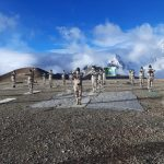 Ladkah: ITBP personnel practices yoga asanas - postures - at 18,800 feet on the occasion of 6th International Yoga Day in sub-zero temperature in Ladkah on June 21, 2020. (Photo: IANS/ITBP) by .
