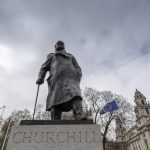 "LONDON, March 23, 2019 (Xinhua) -- An EU flag and the statue of Winston Churchill are seen during the ""Put it to the People"" march in central London, Britain, on March 23, 2019. Hundreds of thousands of people on Saturday marched through central London calling for another referendum on Brexit as the country is caught by the Brexit impasse again. (Xinhua/Han Yan/IANS) by ."