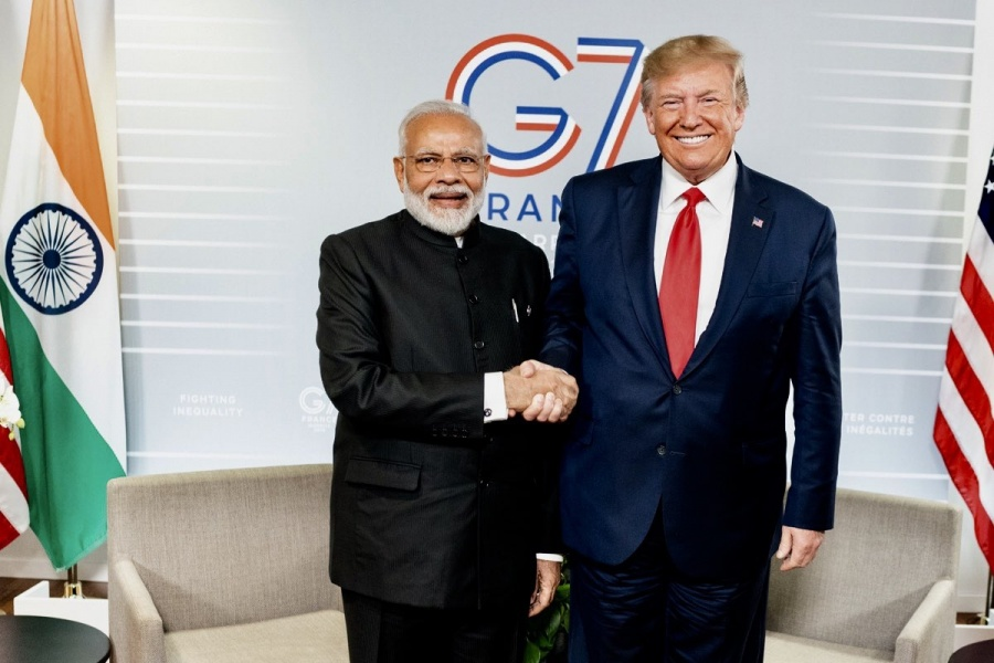 Biarritz: Prime Minister Narendra Modi meets US President Donald Trump on the sidelines of the G7 Summit in Biarritz, France on Aug 26, 2019. (Photo: IANS/MEA) by .