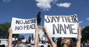 WASHINGTON D.C., May 31, 2020 (Xinhua) -- Protesters rally during a protest over the death of George Floyd in Washington D.C., the United States, on May 30, 2020. Demonstrations and riots have spread to cities across the United States after a video went viral of George Floyd being suffocated to death by a white police officer in the midwest U.S. state of Minnesota on May 25. (Xinhua/Liu Jie/IANS) by .