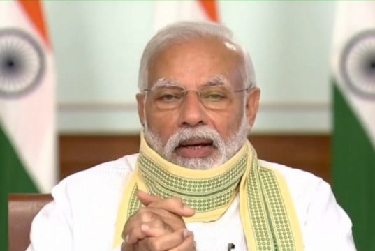 New Delhi: Prime Minister Narendra Modi interacts with Sarpanchs across the country through Video-Conferencing on Panchayati Raj Divas in New Delhi on April 24, 2020. by .