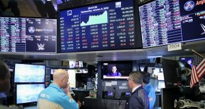 NEW YORK, Jan. 8, 2020 (Xinhua) -- Traders watch the TV news at the New York Stock Exchange in New York, the United States, on Jan. 8, 2020. U.S. stocks finished higher on Wednesday as market fears were partly relieved after President Donald Trump's comments on Iran's missile strike against Iraqi bases housing U.S. forces. The Dow Jones Industrial Average jumped 161.41 points, or 0.56 percent, to 28,745.09. The S&P 500 increased 15.87 points, or 0.49 percent, to 3,253.05. The Nasdaq Composite Index rose 60.66 points, or 0.67 percent, to 9,129.24. (Xinhua/Wang Ying/IANS) by .