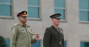 WASHINGTON, July 22, 2019 (Xinhua) -- Chairman of the U.S. Joint Chiefs of Staff Joseph Dunford (R) holds a welcome ceremony for Pakistani Chief of Army Staff Qamar Javed Bajwa at the Pentagon, Virginia, the United States, on July 22, 2019. (Xinhua/Liu Jie/IANS) by .