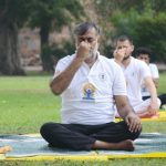 New Delhi: Union Minister for Culture and Tourism Prahlad Patel practices yoga asanas - postures - on the occasion of 6th International Yoga Day at Purana Qila in New Delhi on June 21, 2020. (Photo: IANS/PIB) by .