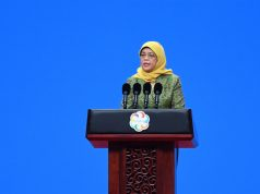 BEIJING, May 15, 2019 (Xinhua) -- Singaporean President Halimah Yacob delivers a speech at the opening ceremony of the Conference on Dialogue of Asian Civilizations (150519) at the China National Convention Center in Beijing, capital of China, May 15, 2019. (Xinhua/Ju Huanzong/IANS) by .
