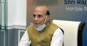 New Delhi: Defence Minister Rajnath Singh addresses the MSMEs E-conclave themed 'Business Continuity for MSMEs in Defence & Aerospace Sector' via video conference in New Delhi on May 21, 2020. (Photo: IANS/PIB) by .