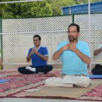 New Delhi: Union Minority Affairs Minister Mukhtar Abbas Naqvi practices yoga asanas - postures - on the occasion of 6th International Yoga Day in New Delhi on June 21, 2020. (Photo: IANS) by .