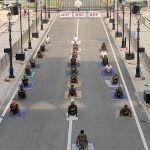 Attari: BSF personnel practice yoga asanas - postures - on the occasion of 6th International Yoga Day at Attari Border, Punjab on June 21, 2020. (Photo: IANS/BSF) by .