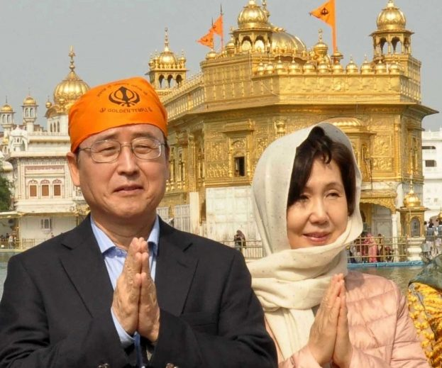 Amritsar: South Korean Ambassador to India Shin Bong-kil along with his wife pays obeisance at the Golden Temple in Amritsar, on Feb 29, 2020. (Photo: IANS) by .