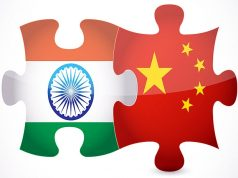 India and China Flags. by .