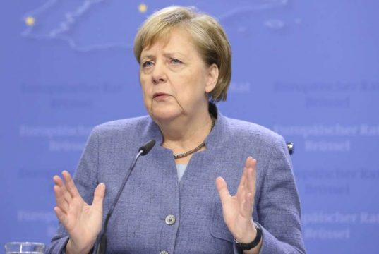 BRUSSELS, Dec. 14, 2018 (Xinhua) -- German Chancellor Angela Merkel speaks during a press conference at the end of an EU Summit in Brussels, Belgium, on Dec. 14, 2018. (Xinhua/Ye Pingfan/IANS) by .
