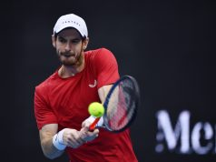 BEIJING, Oct. 4, 2019 (Xinhua) -- Andy Murray of Britain hits a return during the men's singles quarter-final match against Dominic Thiem of Austria at 2019 China Open tennis tournament in Beijing, capital of China, Oct. 4, 2019. (Xinhua/Zhang Hongxiang/IANS) by .